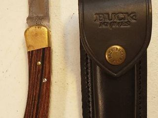 Buck 110 USA lockback Pocket Knife And Sheath new