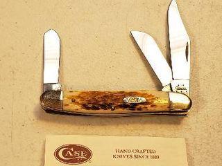 CASE XX 128 lARGE STOCKMAN POCKET KNIFE JIGGED AMBER BONE 3 7 8  ClOSED 6347 SS w box