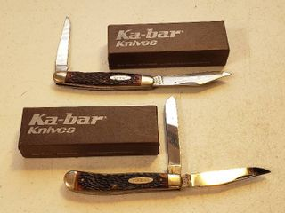 2 Ka bar Pocketknives   1001 Two Blade   1963 Two Blade   w boxes