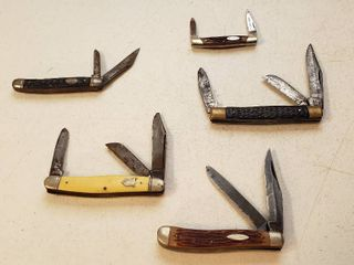 5 Pocketknives   Camillus 29  Camillus 66  Sabre  Imperial and Winchester 2004 SS china
