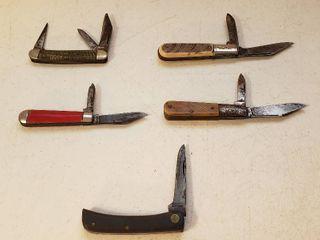 5 Vintage Pocketknives   Case Single Blade Sod Buster Jr  2137  Bluegrass 2 Blade  Barlow 2 Blade  Hammered Brand 2 Blade and Imperial 3 Blade