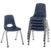 Factory Direct Partners 16in Stack Chair with Ball Glides  6 Pack
