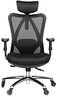 Duramont Ergonomic Adjustable Office Chair with lumbar Support and Rollerblade Wheels   High Back with Breathable Mesh   Thick Seat Cushion   Adjustable Head   Arm Rests  Seat Height   Reclines