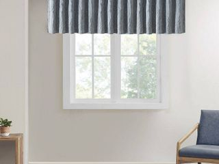 50 x18  Aden Faux Silk Embroidered Blackout Window Valance Blue