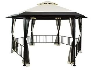 15 6 x15 6  Gazebo for Patios Hexagonal Frame with Mesh Curtains  Patio Temts  Wi d Proof Fabric Canopy Outdoor