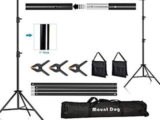 MOUNTDOG Backdrop Support Stand Adjustable Photography Studio Background Support System Kit with Carrying Bag for Photo Video Shooting