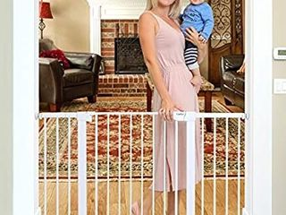 Cumbor 51 6 Inch Baby Gate Extra Wide  Easy Walk Thru Dog Gate for The House  Auto Close Baby Gates for Stairs  Doorways  Includes 2 75  5 5  and 11  Extension Kit  Mounting Kit