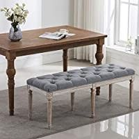 chairus Fabric Upholstered Dining Bench   Classic Entryway Ottoman Bench Bedroom Bench with Rustic Wood legs   Gray