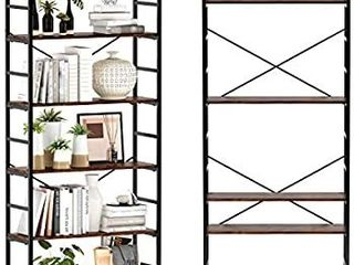 CosyStar 6 Tier Adjustable Tall Bookcase  Rustic Wood and Metal Standing Bookshelf  Industrial Vintage Book Shelf Unit  Open Back Modern Office Bookcases