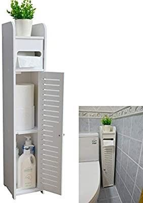 Small Bathroom Storage Corner Floor Cabinet with Doors and Shelves  Thin Toilet Vanity Cabinet  Narrow Bath Sink Organizer  Towel Storage Shelf for Paper Holder  White by AOJEZOR
