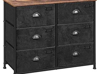 SONGMICS Fabric Drawer Dresser  Wide Storage Dresser with 6 Drawers  Industrial Closet Storage Drawers  with Metal Frame  Wooden Top  for Closet  Hallway  Nursery  Rustic Brown and Black