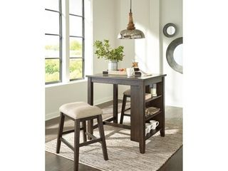 Signature Design by Ashley Rokane light Brown Rectangular Dining Room Counter Table Set of 3