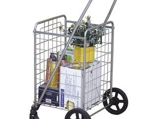 Wellmax WM99024S Grocery Utility Shopping Cart  Easily Collapsible and Portable to Save Space and Heavy Duty  light Weight Trolley with Rolling Swivel Wheels