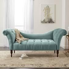 Skyline Furniture Tufted Chaise lounge in linen Seaglass  956 79