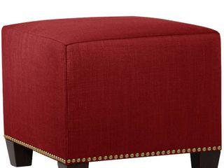 Skyline Furniture linen Fabric Modern Ottoman in linen Antique Red  221 94