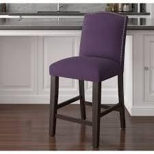 Skyline Furniture Nail Button Counter Stool in Velvet Aubergine  310 21