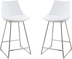 Emerald Home Neo White 24  Bar Stool with Molded Plastic Shell  Cushioned Seat  And Metal Bracing  Set of Two   119 99