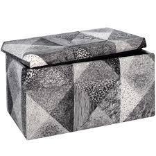 Skyline Furniture Black  White Cotton Storage Bench  116 99