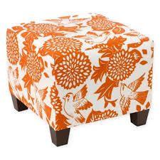 Skyline Furniture Ottoman in Garden Bird Orange  144 49