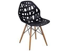 leisureMod Akron Black Dining Side Chair W  Dowel Eiffel Base  104 99