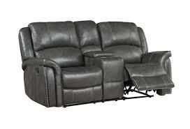 Gray leather Nailhead Power Reclining loveseat with Storage Console  1129 99