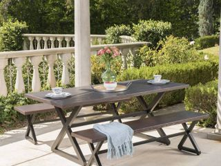 Rolando Outdoor 3 piece Aluminum Picnic Dining Set by Christopher Knight Home  Retail 986 99