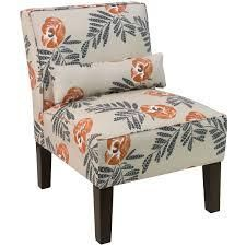 Skyline Cream Fabric with Orange Grey Floral Pattern Accent Chair  354 99