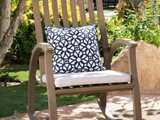 Cayo Outdoor Acacia Wood Rocking Chair with Water Resistant Cushions  1  by Christopher Knight Home Retail  229 99