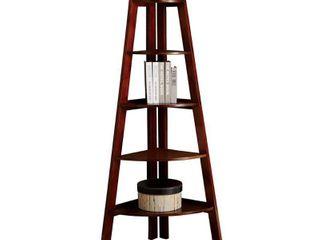 Furniture of America lyss Contemporary 5 Tier Wooden Corner ladder Shelf  Cherry  139 99