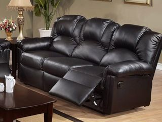 Poundex F6672 Black Bonded leather Reclining Sofa With Two Recliners  929 99