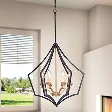 Warehouse of Tiffany P2015 6 Freine Matte Black Gold Bronze 6 light Abstract Outer Cage Chandelier  185 53