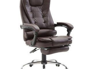 HomCom Reclining PU leather Executive Home Office Chair with Comfortable Faux leather   Extendable Footrest  Brown  Retail 187 99