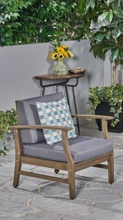 Perla Outdoor Acacia Wood Club Chair with Cushion  1  by Christopher Knight Home   Retail 376 49