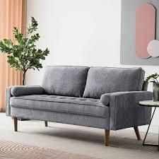 Ovios High Back Couch Mid century Spring Top Grain leather Wood legs Sofa  Retail 513 49