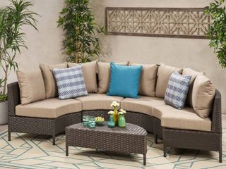Newton Outdoor 4 seater Wicker Sectional Sofa by Christopher Knight Home  Retail 917 99