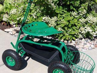 Sunnydaze Rolling Garden Cart w  Steering Handle  Seat   Tray