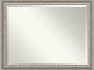 Amanti Art Parlor Silver tone Framed Bathroom Vanity Wall Mirror  45 5  x 35 50