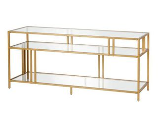 Cortland Blackened Bronze TV Stand with Glass Shelves
