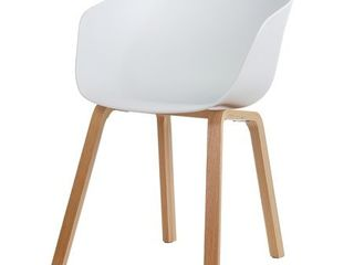 White  Danish Mid Century Modern Side Chair  Curved Wood legs  Retail 171 99