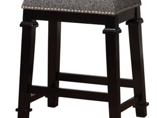 Kenedy Black and White Tweed Backless Counter Height Barstool Black White   linon