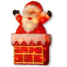 24  inch tinsel light Santa on chimney