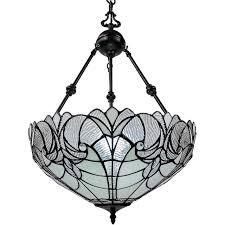 Clear White  Tiffany Style Hanging Pendant lamp 18 in Wide AM263Hl18B Amora lighting  Retail 145 99