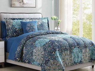 Bold Printed Damask Reversible 8 Piece Complete Bedding Set  Queen