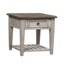 Heartland antique white 1 drawer end table