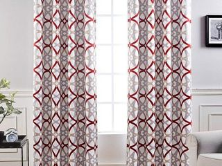 DriftAway Alexander Thermal Blackout Grommet Unlined Window Curtains  Spiral Geo Trellis Pattern  Set of Two Panels  Each Size 52 x96   Red Gray