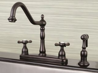 Oil Rubbed bronze  Vintage Cross 8 inch Centerset Kitchen Faucet with Side Sprayer  Retail 241 99