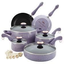 Paula Deen Signature Collection Porcelain Nonstick 15 piece lavender Speckle Cookware Set  Retail 126 99