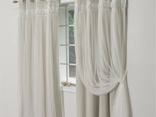 84 Inches   Biscuit  Aurora Home Falling Hearts Tulle Overlay Blackout Curtain Panels  Retail 102 49