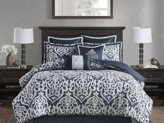 Queen Eliot 8pc Jacquard Comforter Set   Navy