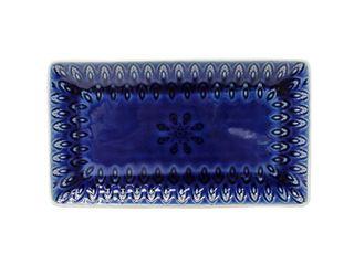 Blue  Euro Ceramica Peacock 12  Rectangular Crackle Glazed Platter